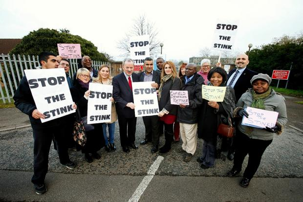 Edmonton MP Andy Love and protesters outside Deephams Sewage Works