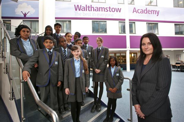 This Is Local London: Principal Emma Skae and students at Walthamstow Academy.