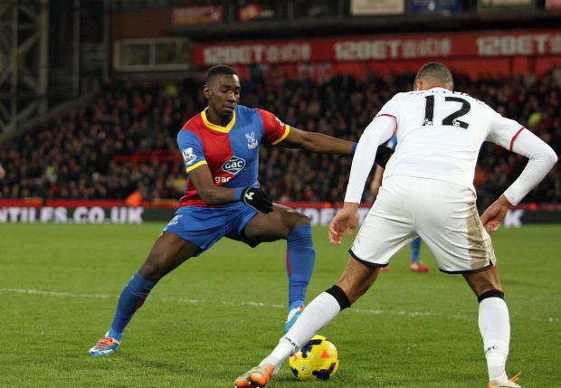 This Is Local London: Pocketing the points: Yannick Bolasie and team-mate Jason Puncheon gave the Chelsea defenders a torrid time on Saturday