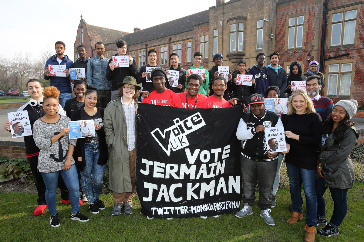 College backs Jermain to win The Voice