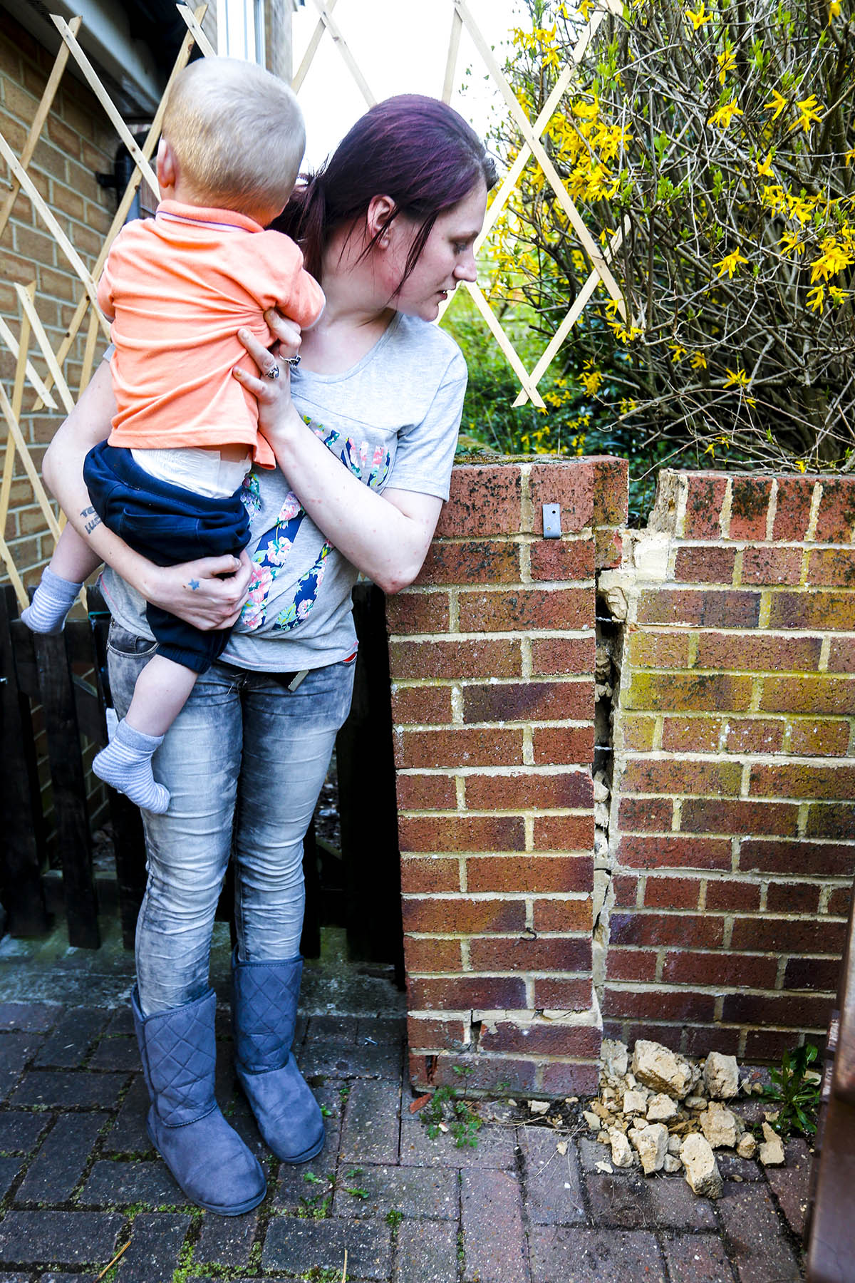 Mother fears crumbling wall in garden could 'kill' her toddler