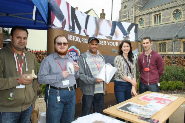 Barnet and Southgate College students with Museum of London staff.