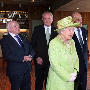 Martin McGuinness, centre, will attend a state banquet at Windsor Castle hosted by the Queen, during an official visit by Irish President Michael D Higgins to the UK next week