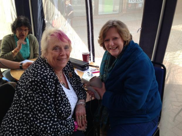 Barnet's Mayoress Cllr Wendy Prentice having her blood pressure taken by one of the volunteer GPs