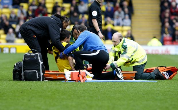 Cristian Battocchio was stretchered off against Burnley. Picture: Holly Cant
