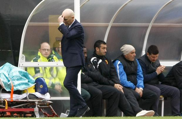 This Is Local London: Beppe Sannino is unable to hide his frustration after Burnley's late equaliser. Picture: Holly Cant
