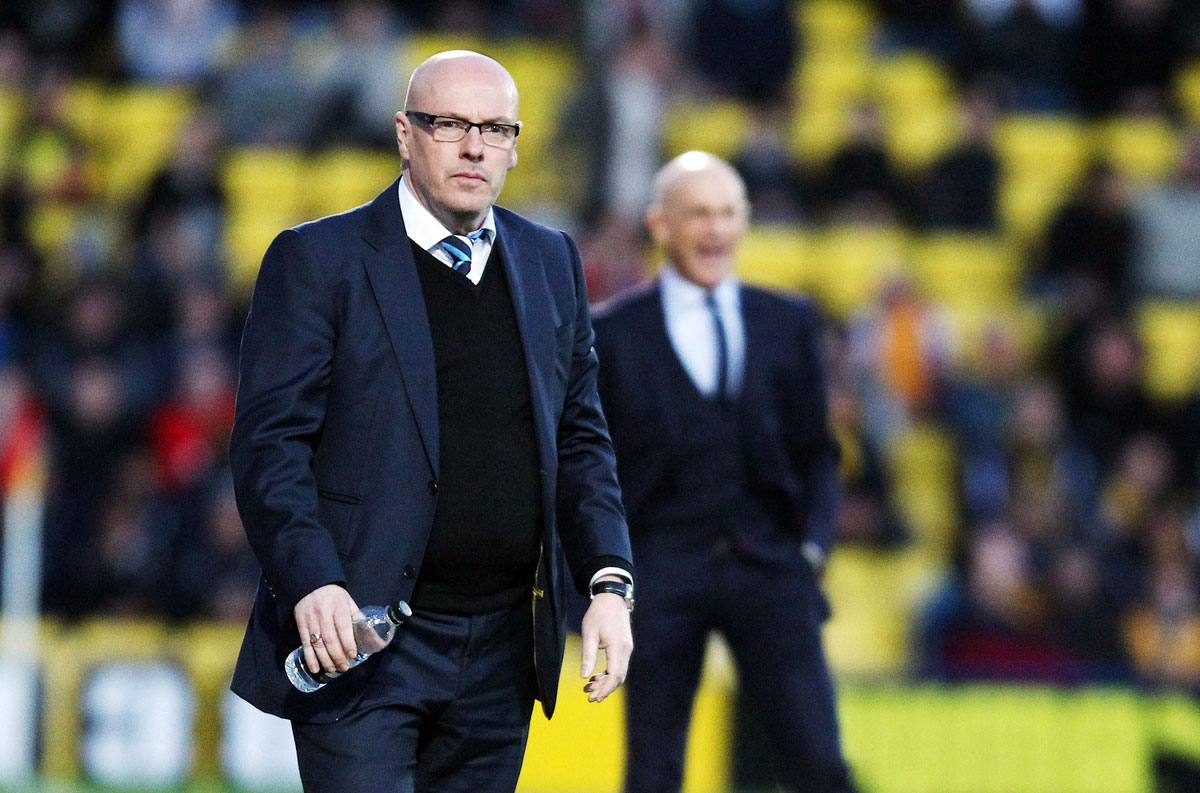 Brian McDermott on the Vicarage Road touchline last night. Picture: Action Images