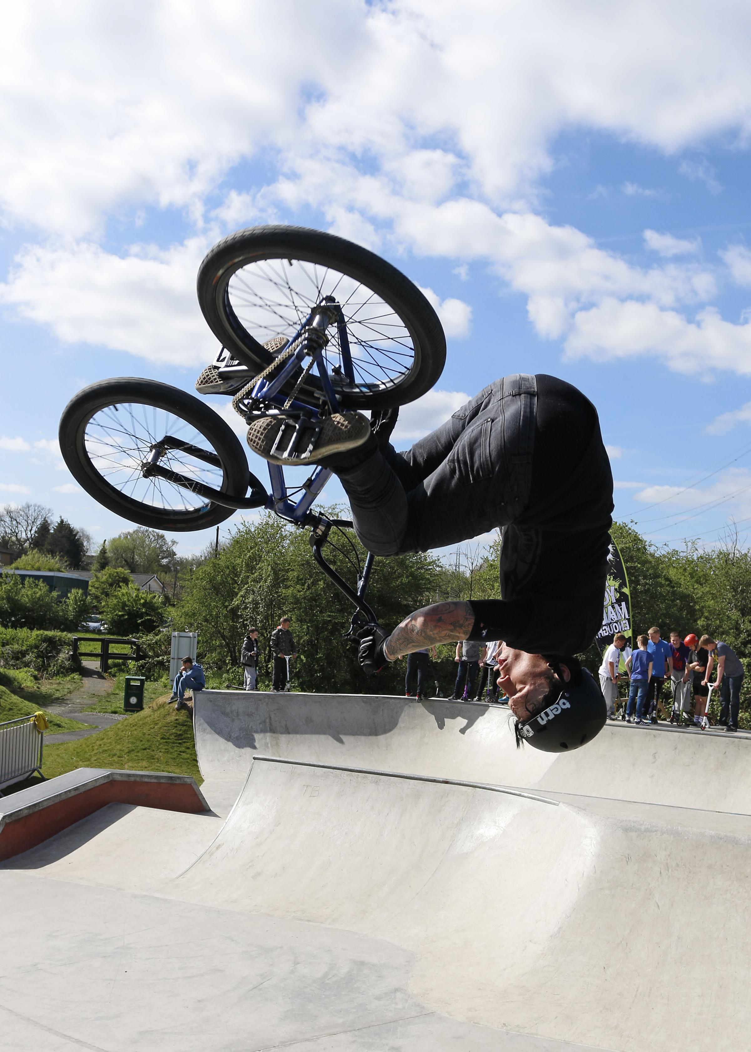 Pro BMX rider Mat Armstrong in action at the skate park in Cox Lane, West Ewell