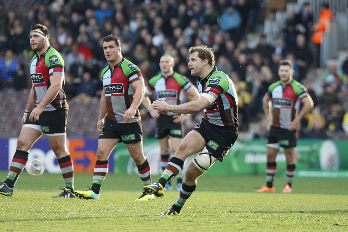 Spot on: Quins fly half Nick Evans is back to his place kicking best after a slow start to the season