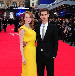 Emma Stone and Andrew Garfield at the world premiere of The Amazing Spiderman 2 in London