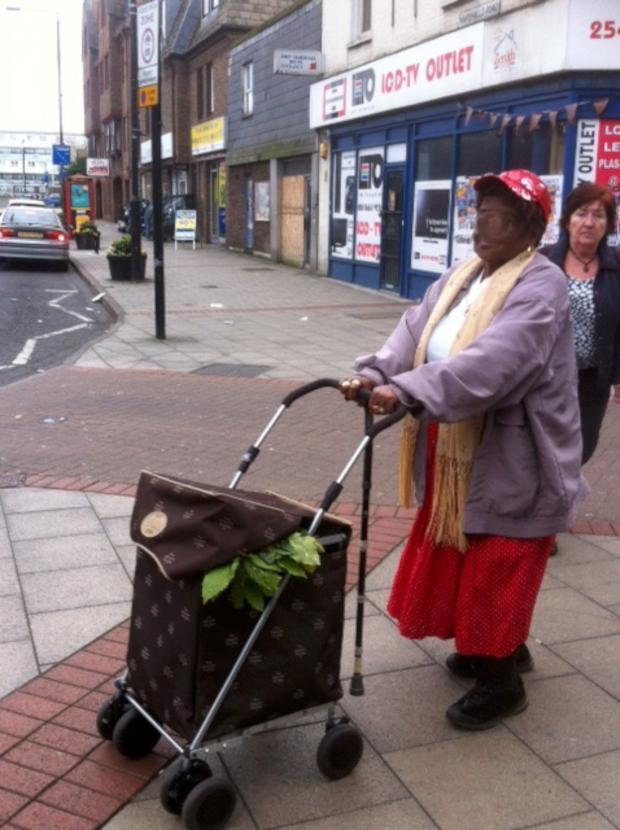 This Is Local London: The alleged thief with what appears to be plants protruding from her trolley