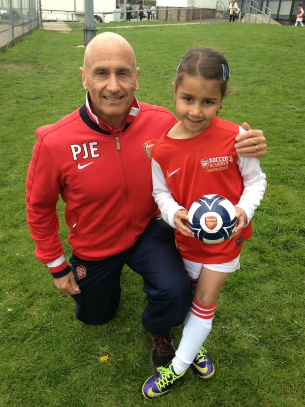 This Is Local London: Head coach Pete Edwards with Arsenal Ladies Academy under nines player Scarlett Kagalwala.