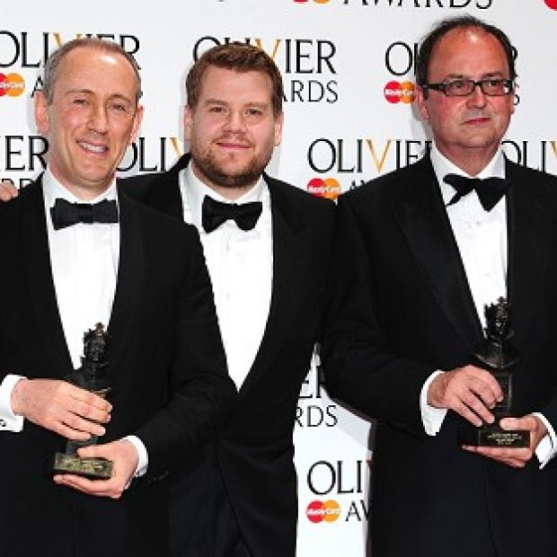 This Is Local London: Sir Nicholas Hytner (left) and Nick Starr (right) win the Special Award, presented by James Corden (centre) at the Royal Opera House in Covent Garden, London.