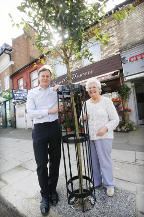 MP Matthew Offord and Councillor Maureen Braun admiring the new trees.