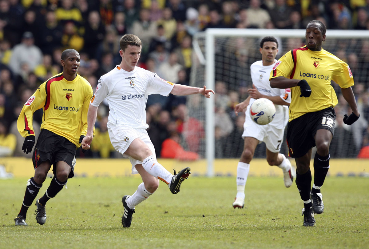 Lloyd Doyley and Ashley Young in action against Luton Town at Vicarage Road in 2006. Picture: Action Images
