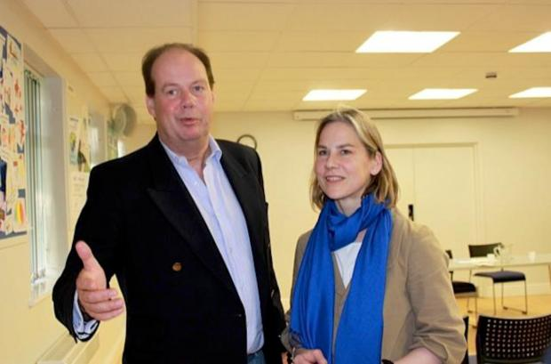 Ready for the rugby? Stephen Hammond and Tania Mathias