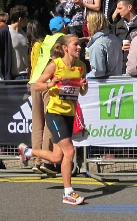 Running queen: Claire Grima in action at the London marathon earlier this year