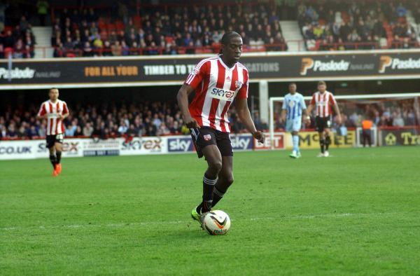 This Is Local London: On target: Brentford striker Clayton Donaldson scored his 18th goal of the season at MK Dons
