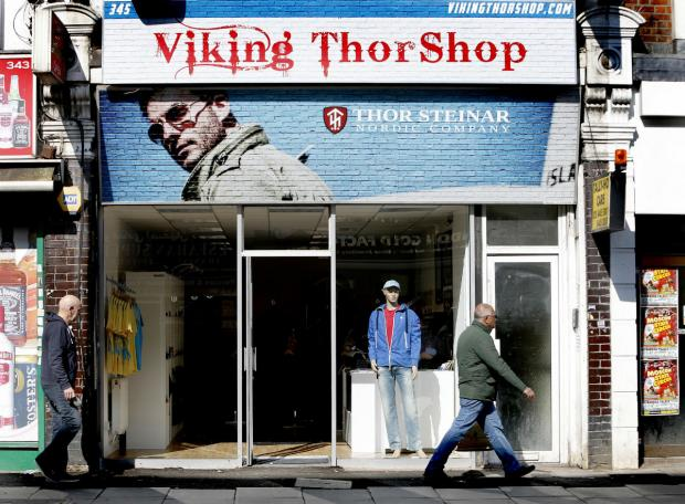 This Is Local London: Thor Steinar's new store, the Viking Thor Shop in Ballards Lane, North Finchley.