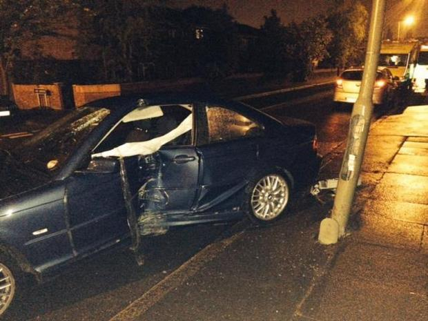 The damaged car in Burnt Ash Lane