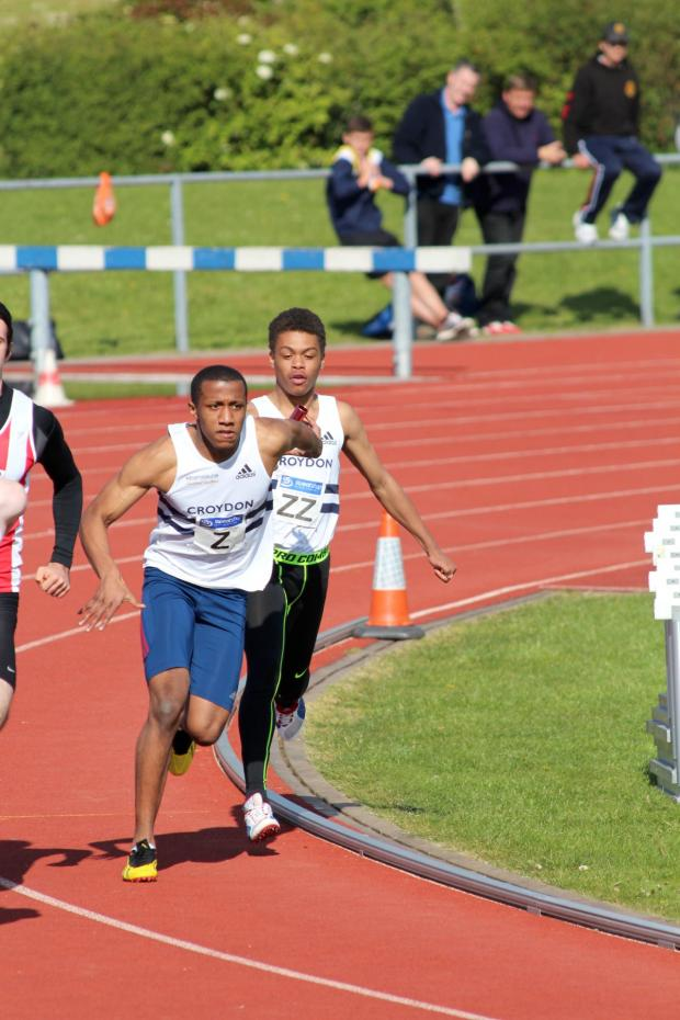 This Is Local London: Silver show: Brandon Mitchell hands to Damien Powell in the 4x100m as Croydon Harriers claim the runners up spot               Picture: Karen Fossett