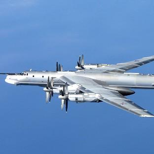 A Russian Tu-95 Bear H photographed by an RAF Typhoon from 6 Squadron at RAF Leuchars in Scotla