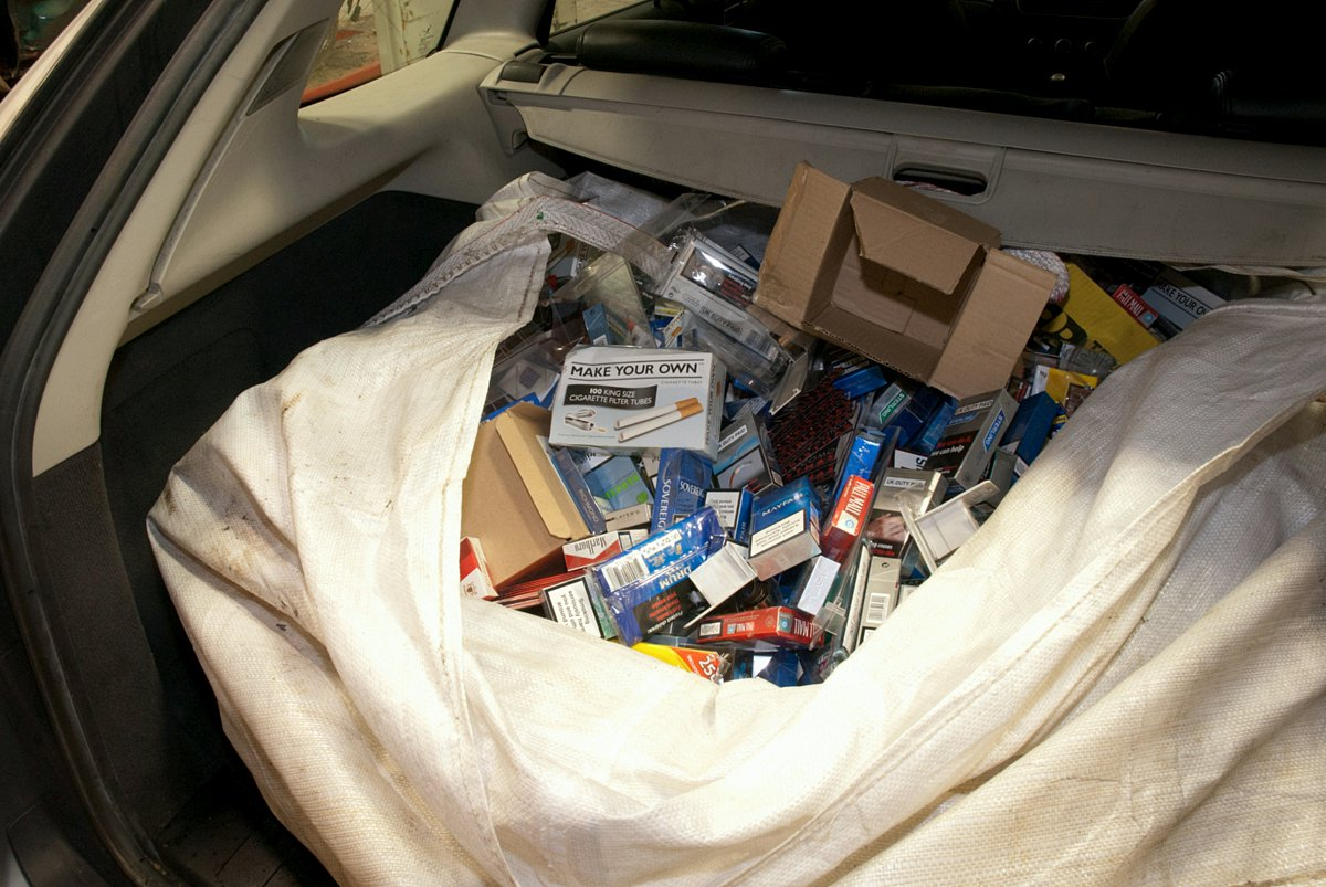 The £5,000 haul of cigarettes and tobacco found in the back of the stolen Saab.