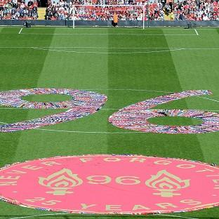 Fans' scarves make up a 96, filling the centre circle before the Hillsborough 25th Anniversary Memorial Serv