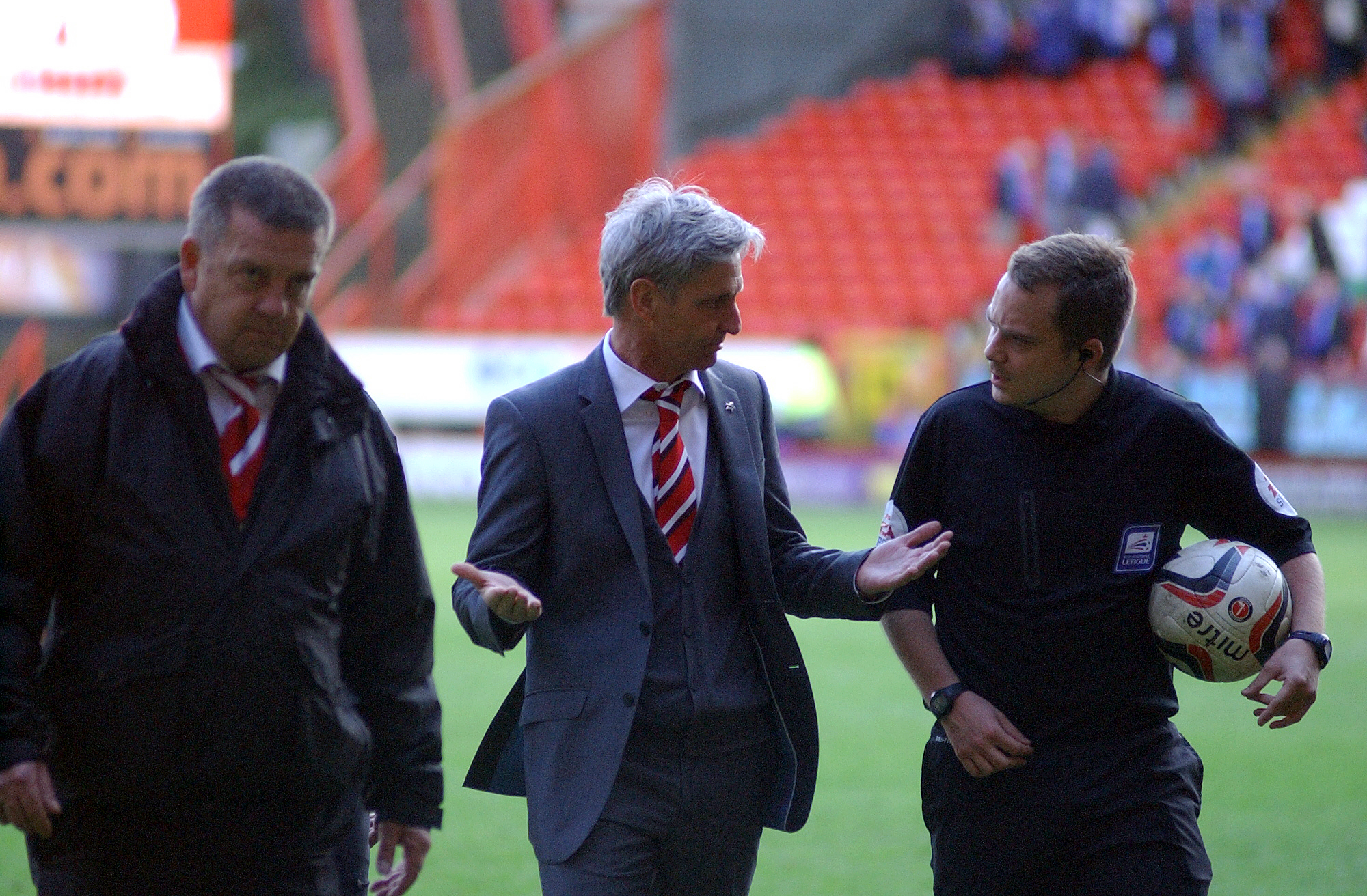Head coach Jose Riga has words with the officials after the Blackburn game