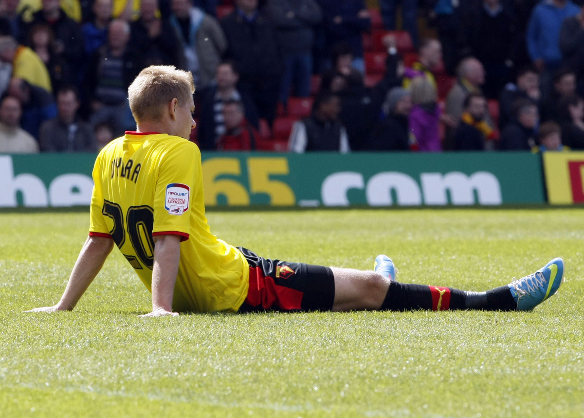 Matej Vydra at the final whistle a year ago today. Picture: Holly Cant