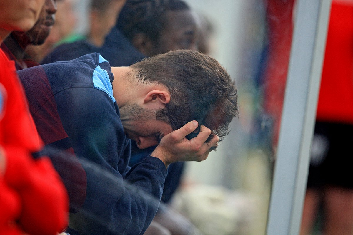 A distraught Max Kretzschmar at the end of Saturday's loss to Bristol Rovers