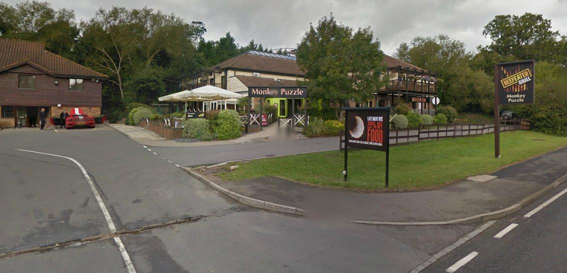 Diners 'froze' when a blood-soaked man walked into the Monkey Puzzle pub in Chessington on Saturday evening