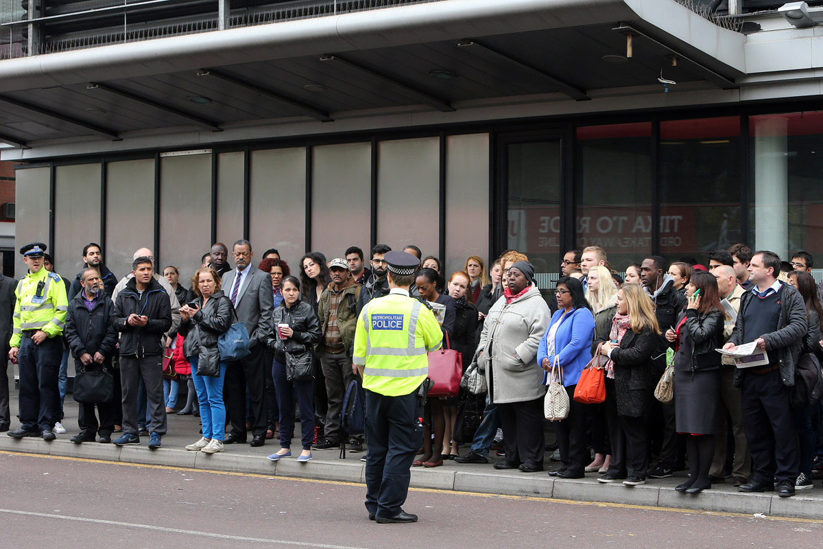 Passengers waiting for buses at Walthamstow Bus Station during the tube strike.