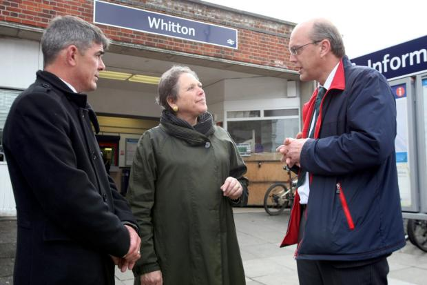 Station: Baroness Susan Kramer with South West Trains development manager-Malcolm Page and head of station property Alistair Wright