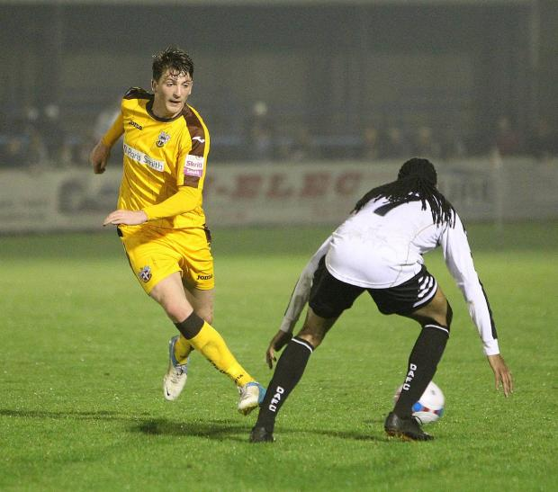 Out side: Michael Spillane keeps Sutton United moving in the 1-1 draw at Dover Athletic                Picture: Paul Loughlin