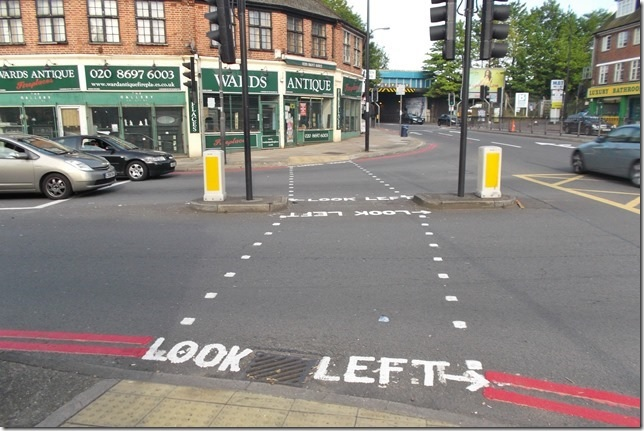 PICTURED: Bungling Hither Green road markers don't know left from right!