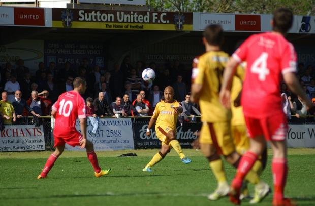 This Is Local London: Not this time: Simon Downer and Sutton United face another season in the Skrill South after the disappointment of defeat on Saturday                   SP84841-14