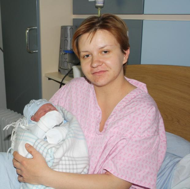 Relieved mother Ewelina with baby boy Antoni
