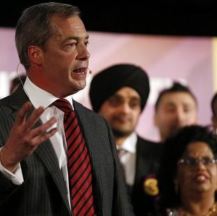 Nigel Farage speaks on stage during a Ukip rally held at the Emmanuel Centre, London