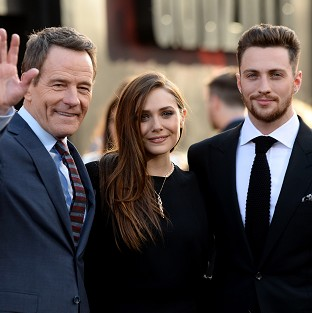 Bryan Cranston, Elizabeth Olsen and Aaron Taylor-Johnson at the LA premiere of Godzilla