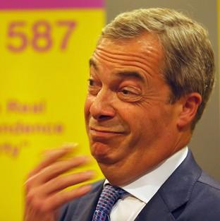 This Is Local London: Ukip leader Nigel Farage attends a rally at the Corn Exchange, Edinburgh