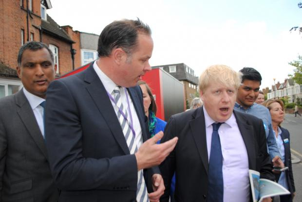 Boris Johnson and YMCA chief executive Richard James at the Y:Cube in Wimbledon