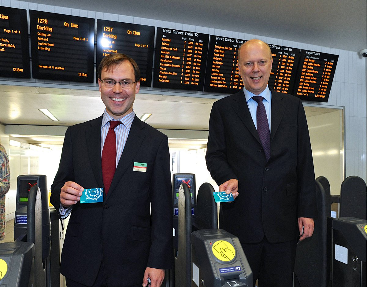 Chris Burchell, managing director of Southern, and Chris Grayling MP launch the extension of the Key