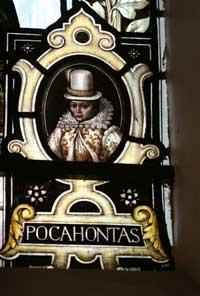 This Is Local London: A stained glass window image of Pocahontas, who was buried on the church site