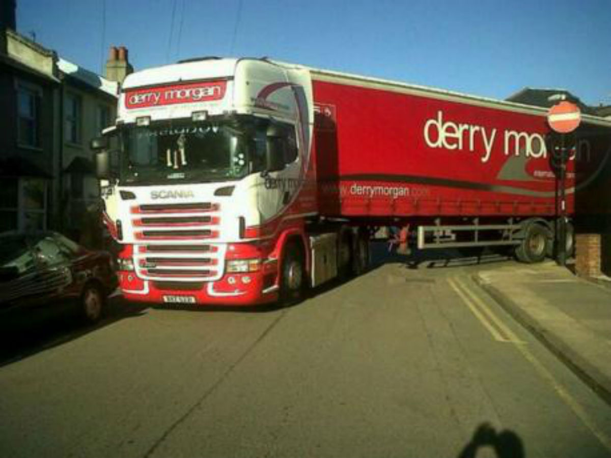A lorry stuck in Ringslade Road, in Wood Green, where it is estimated more than 2,600 vehicles use the street as a cut-through every day