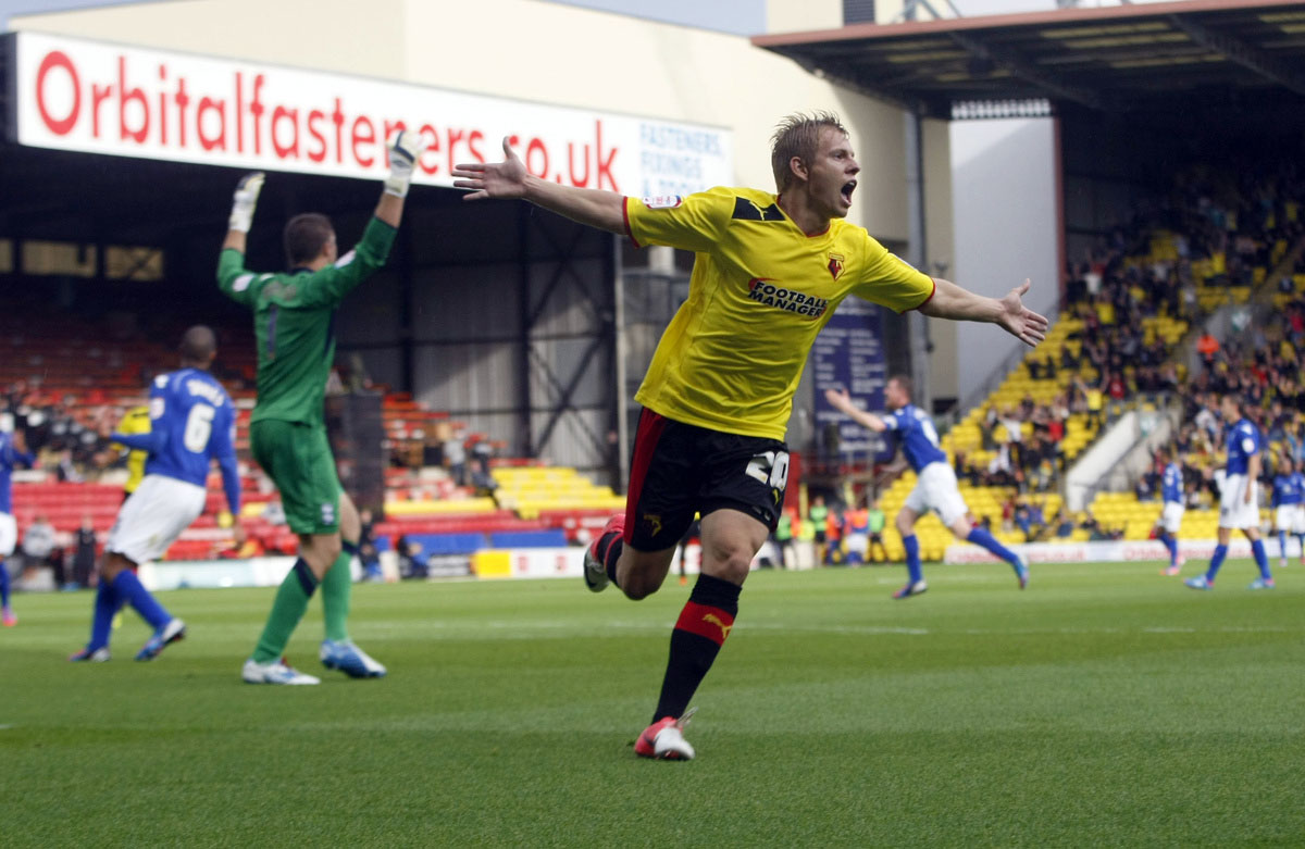 Matej Vydra celebrating scoring for Watford. Picture: Holly Cant
