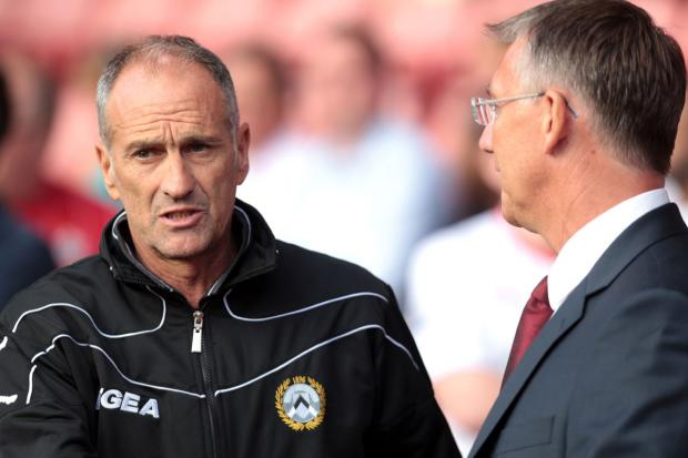 Francesco Guidolin in conversation with then Southampton manager Nigel Adkins. Picture: Action Images