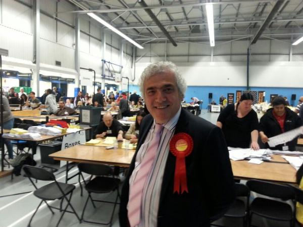Merton Labour leader Stephen Alambritis at the local election count at the Canons Leisure Centre, Mitcham