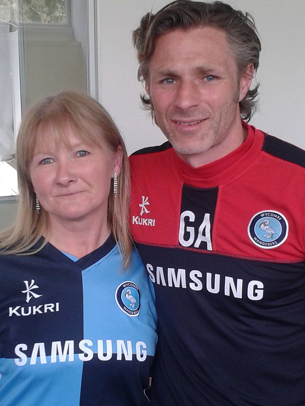 Lisa Bowker with Wanderers manager Gareth Ainsworth