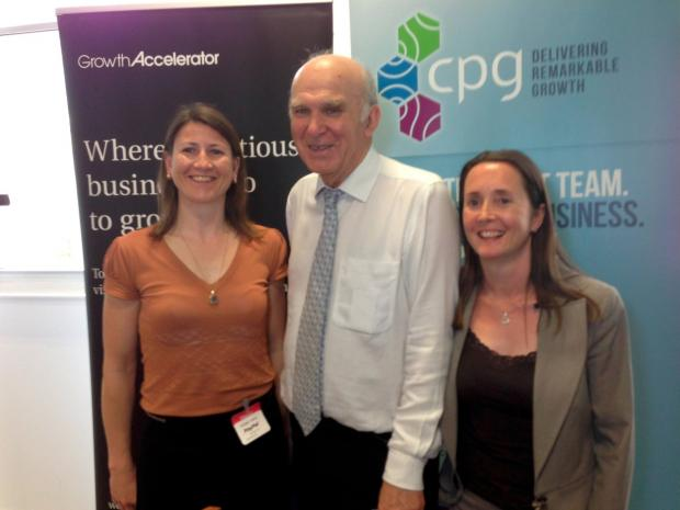 Working together: CPG's Soraya Lavery, Vince Cable, Start Up Richmond's Helen Roberts